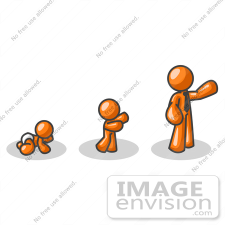 450x450 Clip Art Graphic Of An Orange Guy Character Growing From A Baby