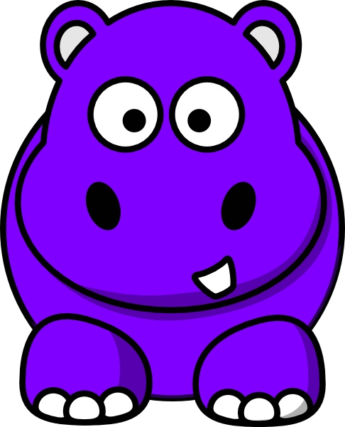 486x600 Dark Purple Baby Hippo Clipart