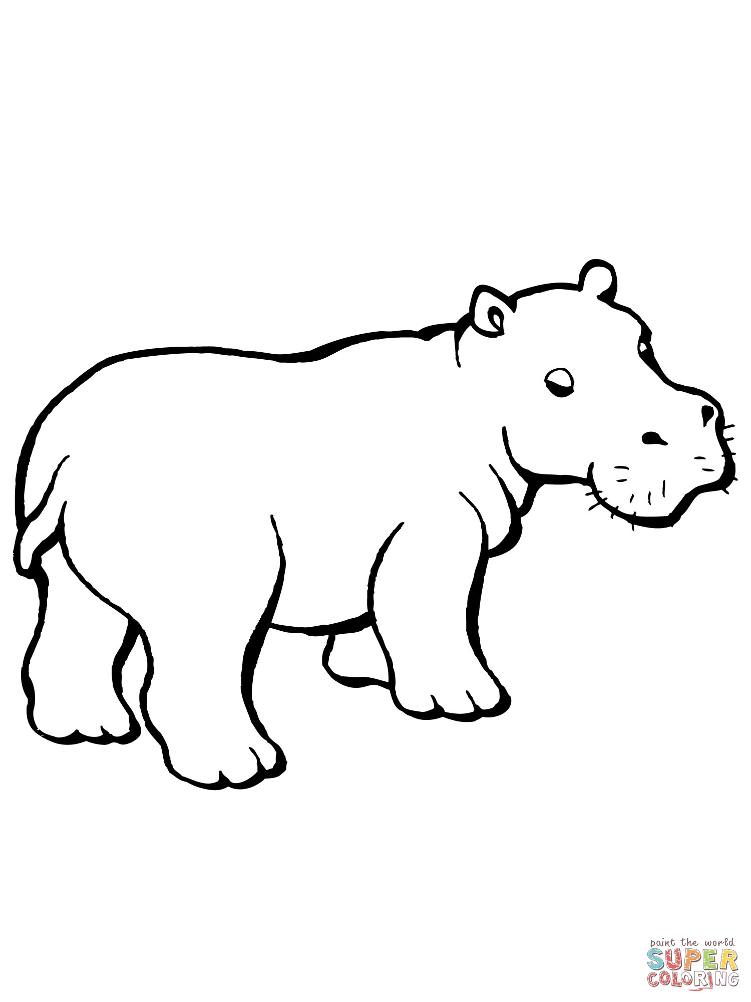 1500x2000 Hippo Clipart Black And White