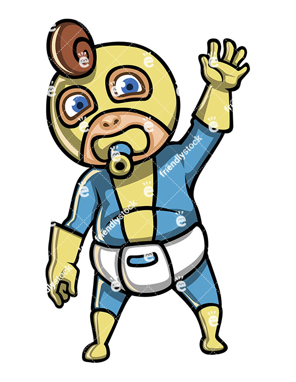 585x755 Baby Boy Superhero With Diaper And Pacifier Cartoon Clipart
