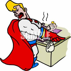 297x300 Superhero Changing A Smelly Diaper On A Baby Clipart Picture