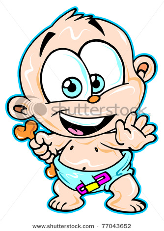 334x470 Baby Boy Wearing Diapers In This Vector Clip Art Illustration