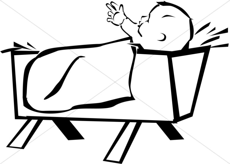 Baby Jesus Clipart Black And White