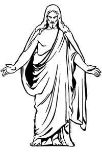 200x300 Lds Jesus Clipart Black And White