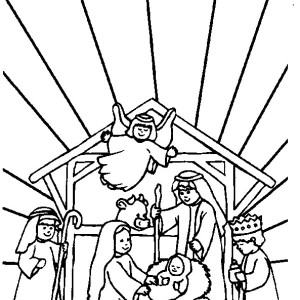 300x300 baby jesus in a manger in nativity coloring page baby jesus in a