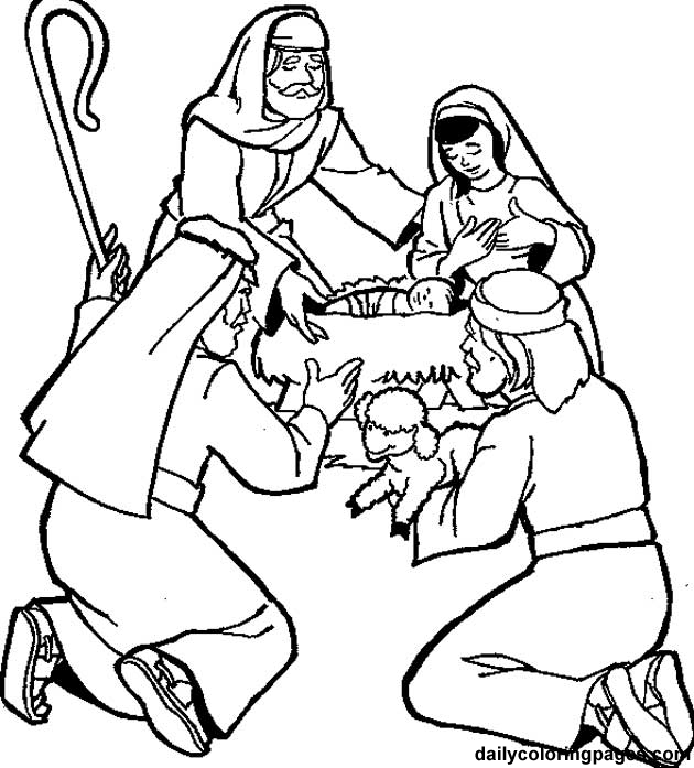 630x697 Shepherds Visit The Baby Coloring Page Advent