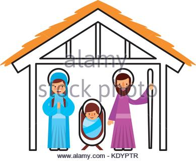 389x320 Manger Virgin Mary And Baby Jesus In Hut Image Stock Vector Art