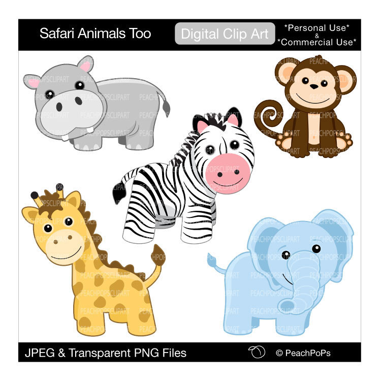 750x750 Baby Safari Animals Clipart