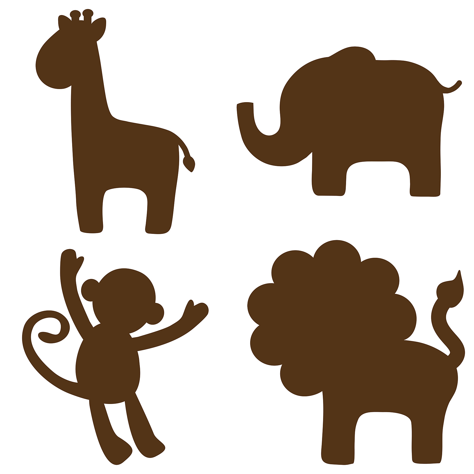1800x1800 Wall Pops Espresso Brown Jungle Silhouettes Decals