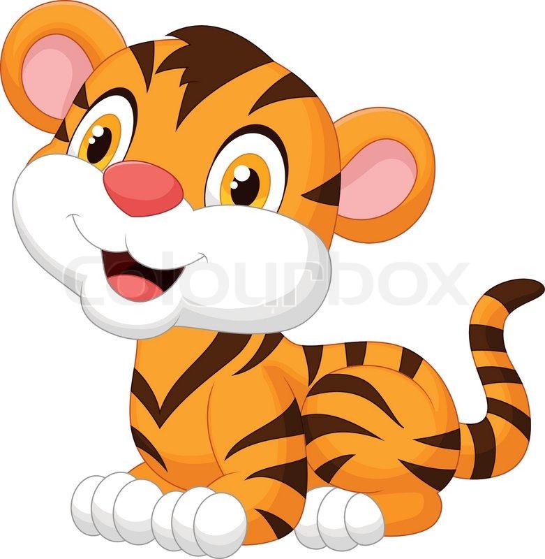 781x800 Vector Illustration Of Cute Baby Tiger Cartoon Stock Vector
