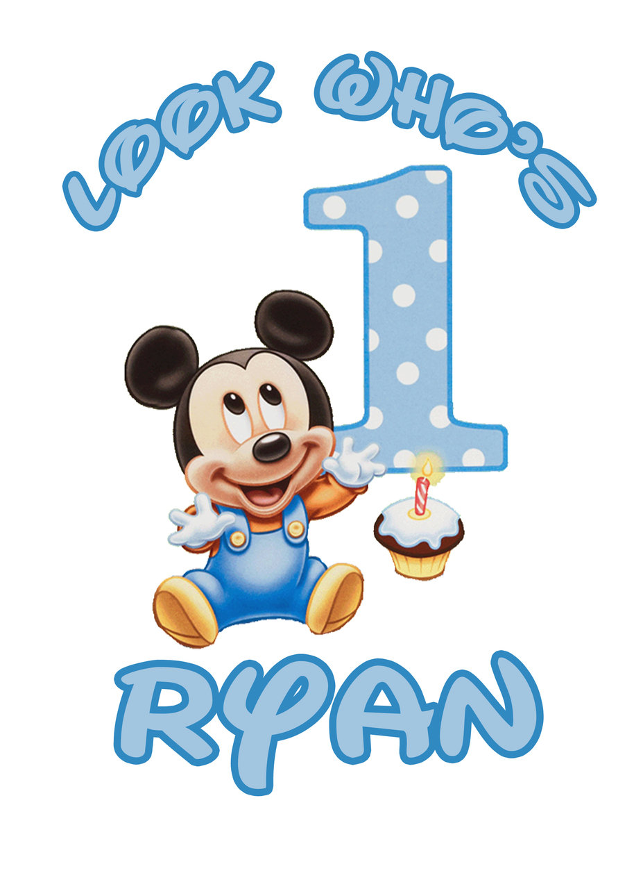 914x1280 Baby Mickey Mouse 1st Birthday Water Bottle Labels
