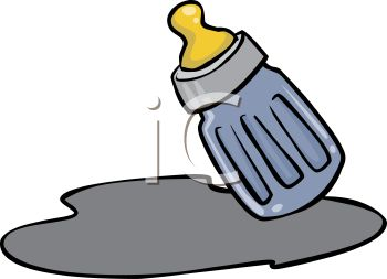 350x253 Picture Of A Small Baby Bottle With Spilled Milk In A Vector Clip
