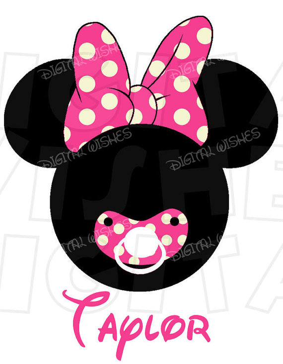 570x732 Baby Minnie Mouse With Pacifier Red Digital Iron On Transfer