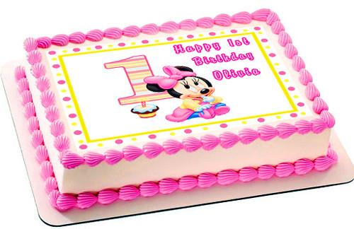 500x324 Baby Minnie Mouse 1st Birthday Edible Cake Topper Amp Cupcake