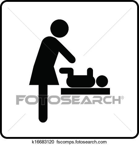 450x470 Clip Art Of Symbol Baby Changing Facilities K11558189