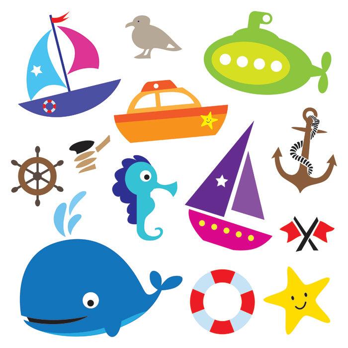 700x700 Nautical Sea Design Elements Transportation Digital Clip Art