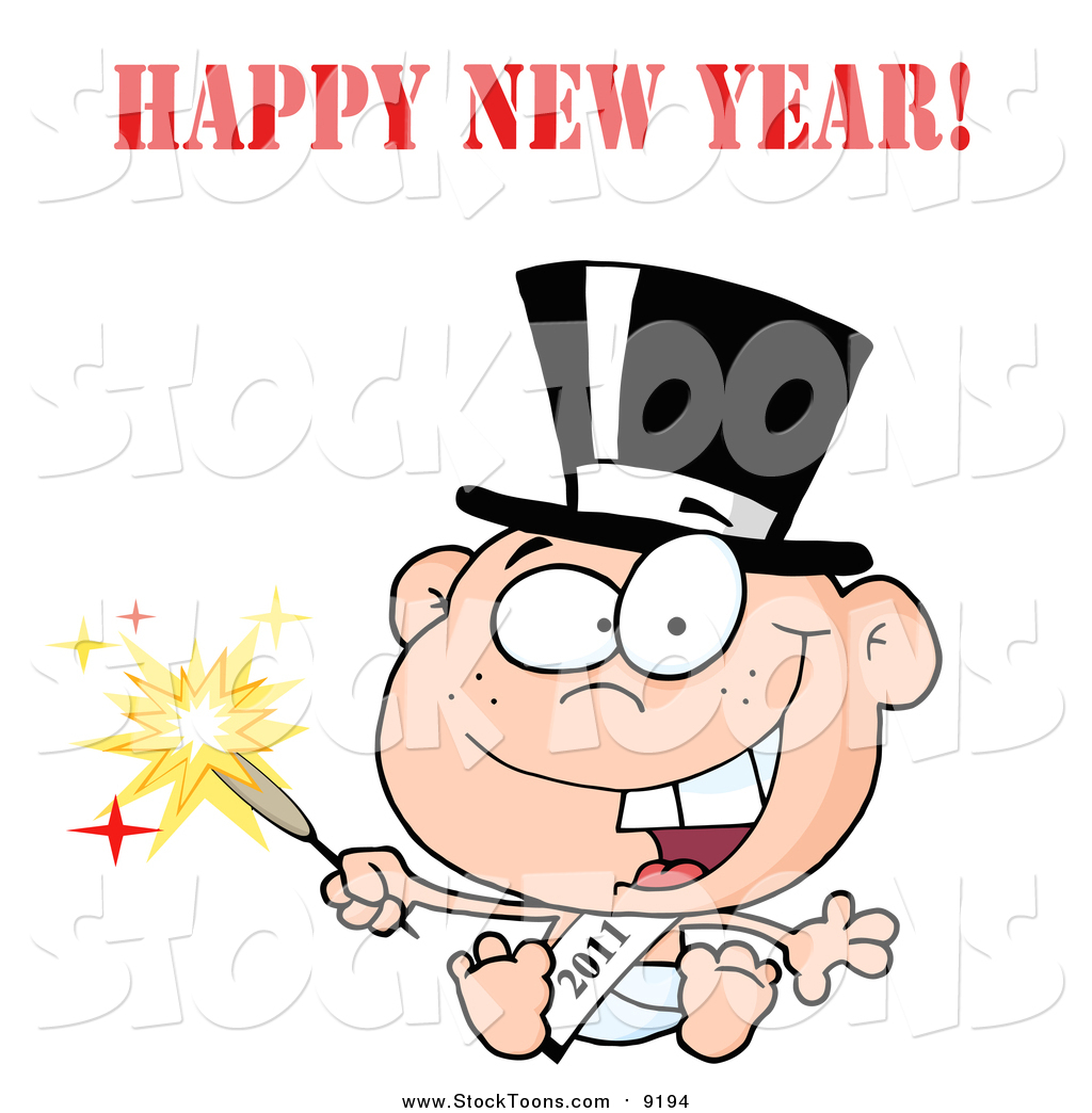 1024x1044 Stock Cartoon Of A New Year Baby Holding A Sparkler By Hit Toon