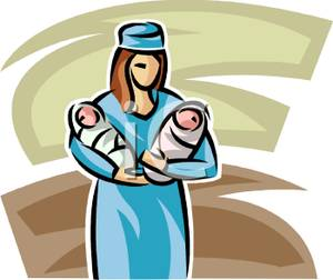 300x252 Free Clipart Image A Nurse Holding Two Newborn Babies