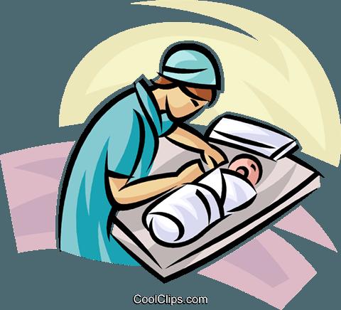 480x436 Doctornurse With A Newborn Royalty Free Vector Clip Art