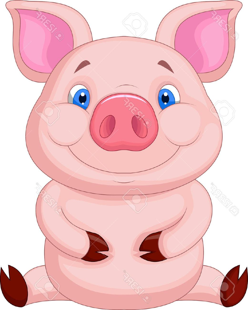 1041x1300 Unique Cute Baby Pig Cartoon Sitting Stock Vector Drawing