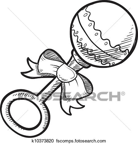 450x469 Clipart Of Baby Rattle Sketch K10373820