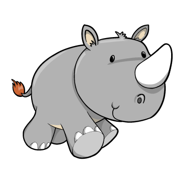 372x368 Cartoon Baby Rhino Custom Wall Decals, Wall Decal Art, And Wall