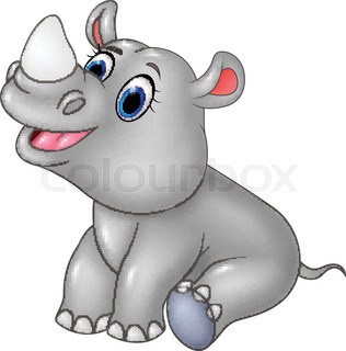 316x320 Cute Baby Rhino Cartoon Stock Vector Colourbox