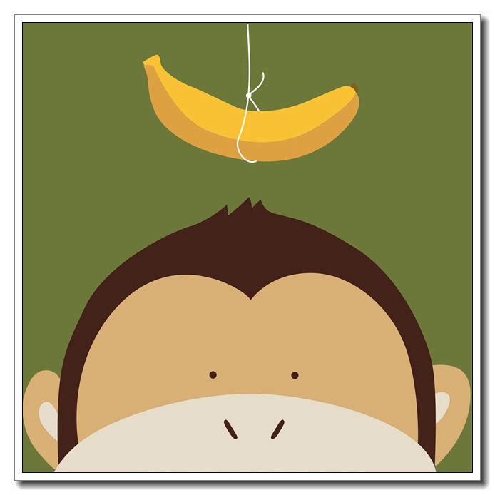 694x694 Kawaii Monkey And Banana Poster Printing Modern Nordic Cartoon