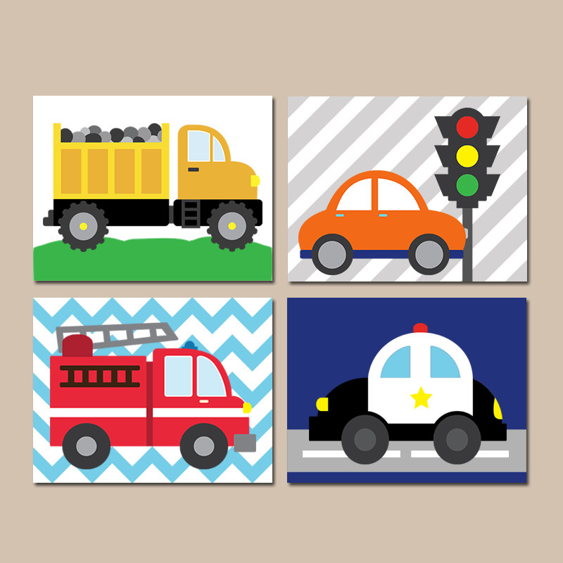 800x800 Transportation Wall Art City Theme Cars Baby Nursery City