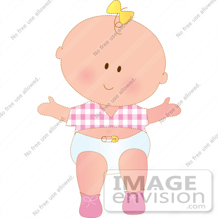 450x450 Clipart Of A Happy Baby Girl In A Diaper, Pink Shoes And A Pink