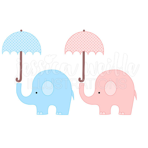 600x600 Baby Elephant With Umbrella Cute Digital Clipart Elephant