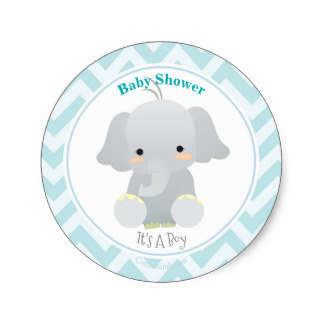 324x324 Cute Blue Elephant Baby Shower Stickers