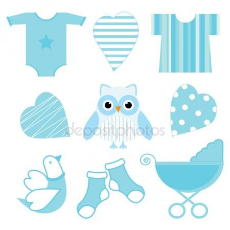 450x450 Baby Shower Illustration With Cute Blue Baby Owl, Baby Tools,