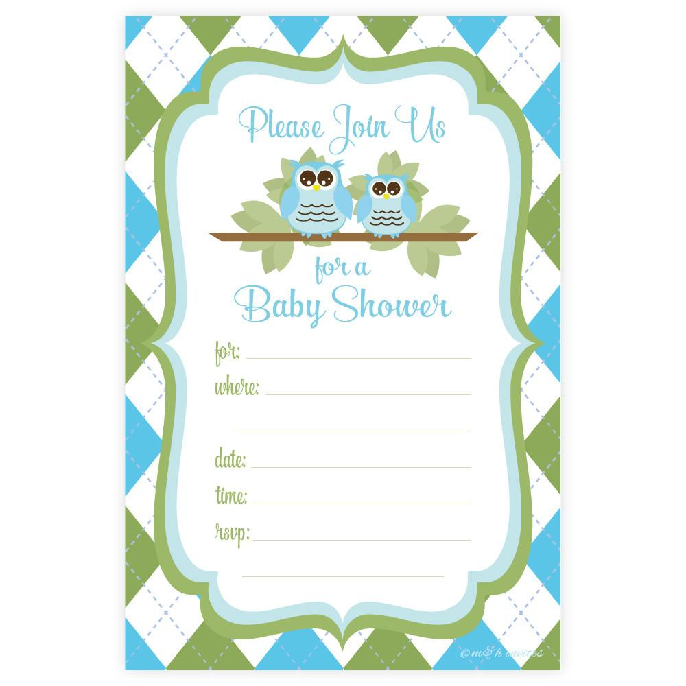 1000x1000 Owl Boy Baby Shower Invitations