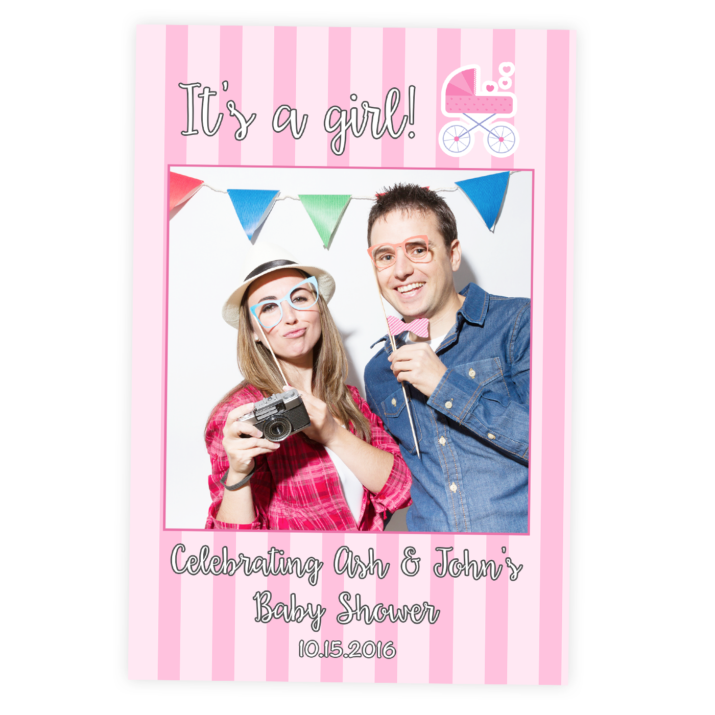 1400x1400 Baby Shower Selfie Frame Cutout Its A Girl Photo Booth Prop