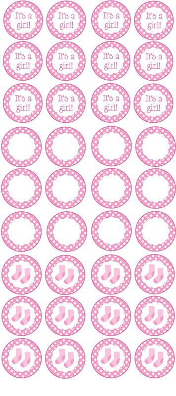 356x800 Free Printable Girl Baby Shower Cupcake Toppers Ideas Para El