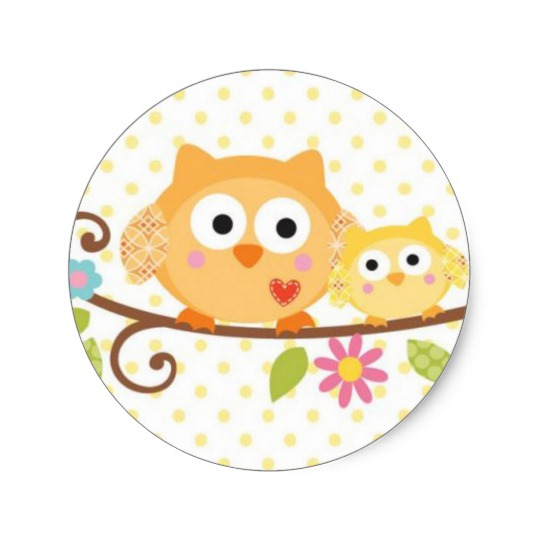 540x540 Happi Tree Owl Baby Shower Sticker