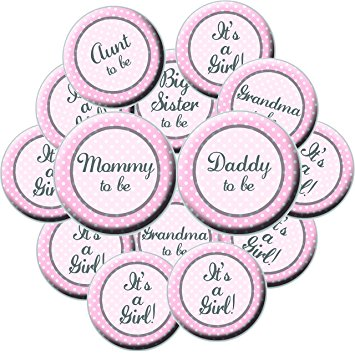 355x355 16 Girl Baby Shower Button Set