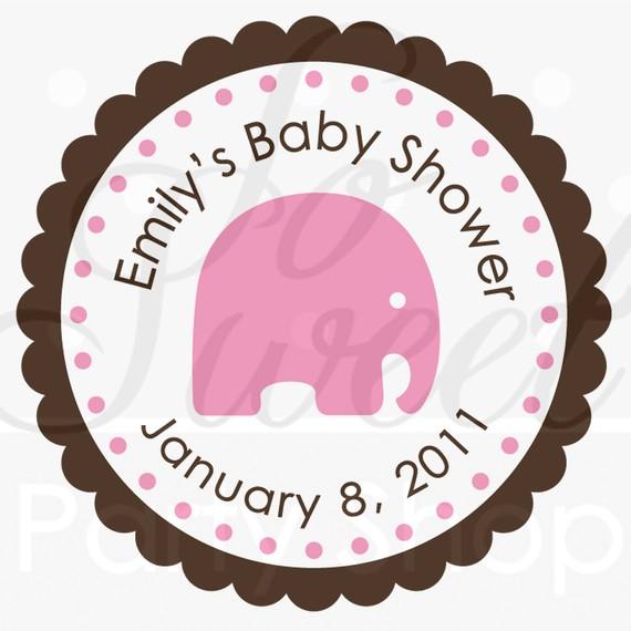 570x570 Girl Elephant Baby Shower Favor Sticker Labels