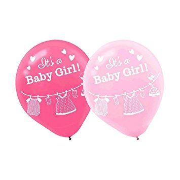 355x355 It's A Girl Baby Shower Pink Balloons Collection, Set