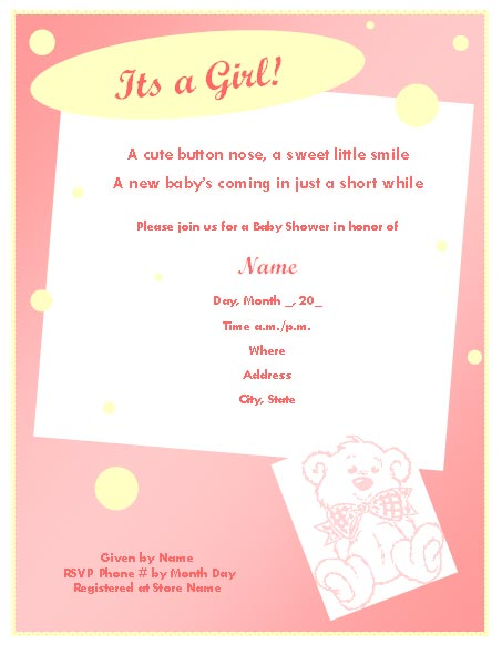 453x591 Baby Shower Invitation Template For Girl