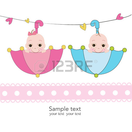 450x450 Twin Baby Girl And Boy Feet Prints Arrival Greeting Card Vector