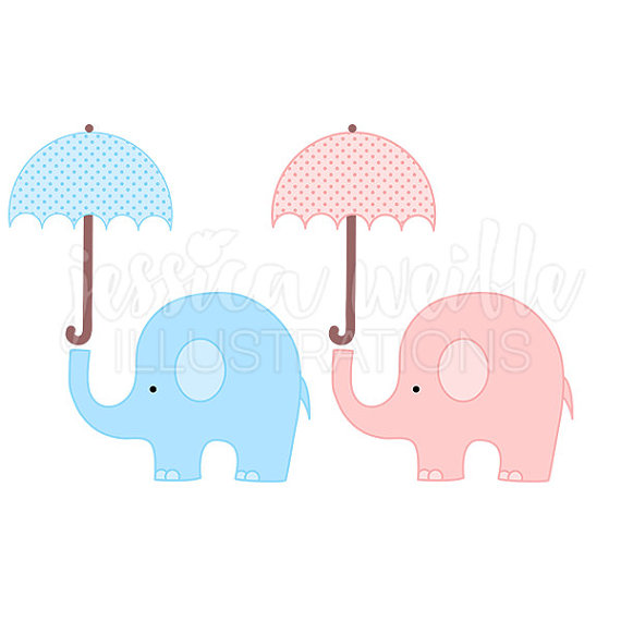 570x570 Baby Elephant With Umbrella Cute Digital By Jwillustrations