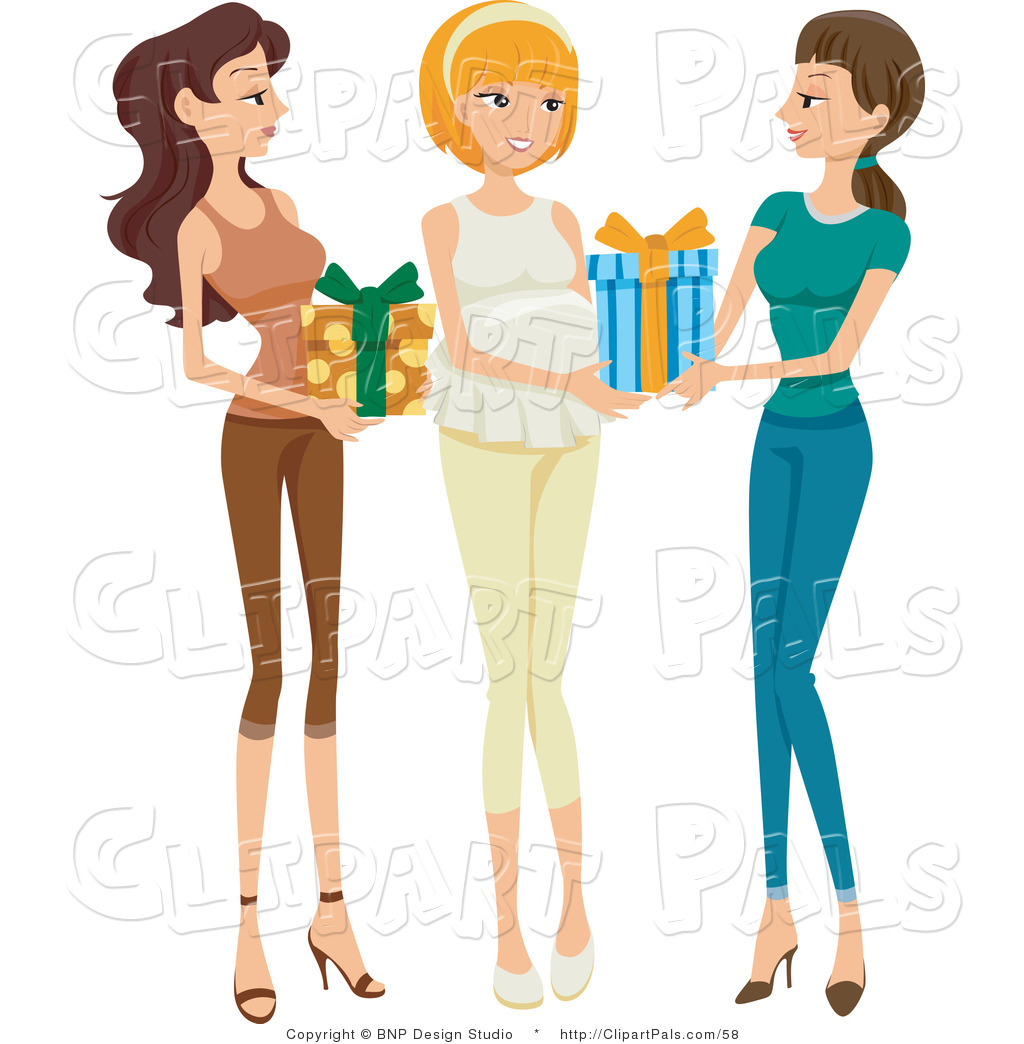 1024x1044 Pal Clipart Of Two Friends Bringing Presents To A Baby Shower