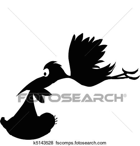 450x470 Clip Art Of Stork With Baby Vector Silhouettes K5143528