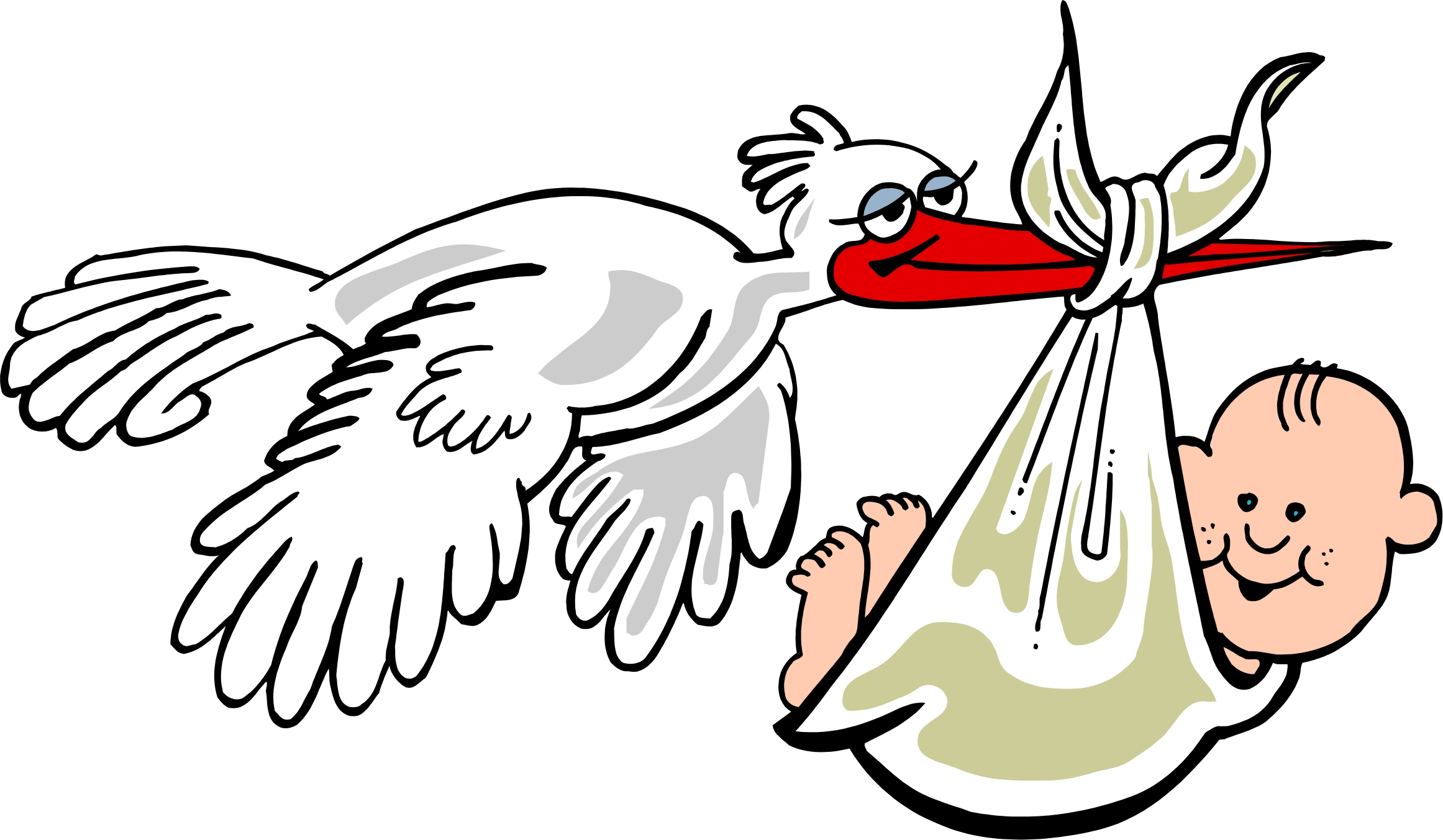 2323x1353 Stork Clipart Baby Drawing