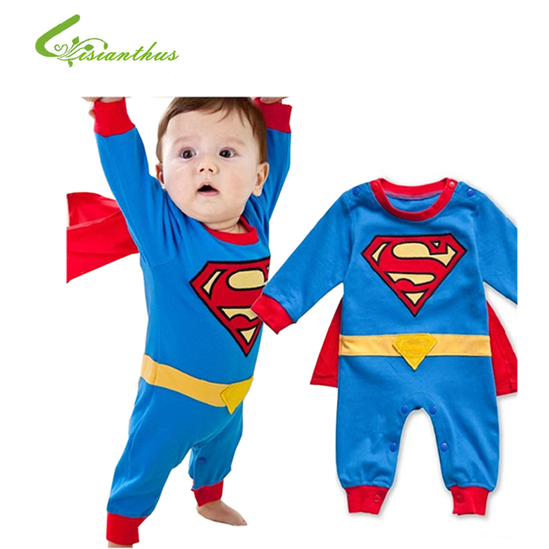 800x800 Baby Boy Romper Superman Long Sleeve with Smock Halloween