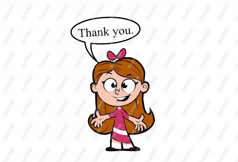 800x543 Thank You Little Girl Character Clip Art