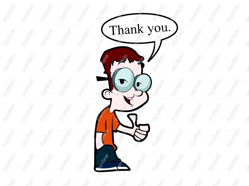800x597 Thank You Nerd Thumbs Up Character Clip Art