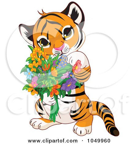 450x470 Royalty Free (Rf) Clip Art Illustration Of A Baby Tiger Holding